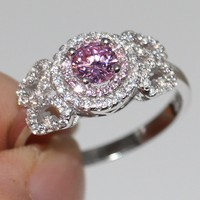 Size 5 10 Luxury Jewelry 100 Pure 925 Sterling Silver Round Cut 5A Pink CZ Zirconia