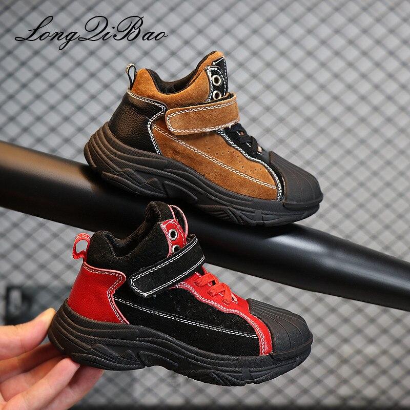 2018 automne chaussures pour enfants garçons en cuir chaussures décontractées haut pour aider vieilles chaussures version coréenne de Martin bottes filles bottes