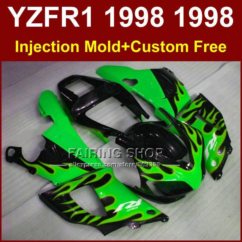ჱLlama verde en el kit de carenado negro para Yamaha YZF R1 YZF1000 ...