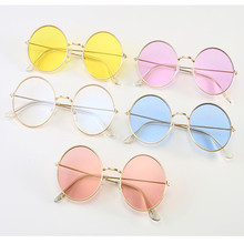Sunglases Round novelty sunglasses women 2019 new hip hop style color lenses retro glasses summer travel trend accessories