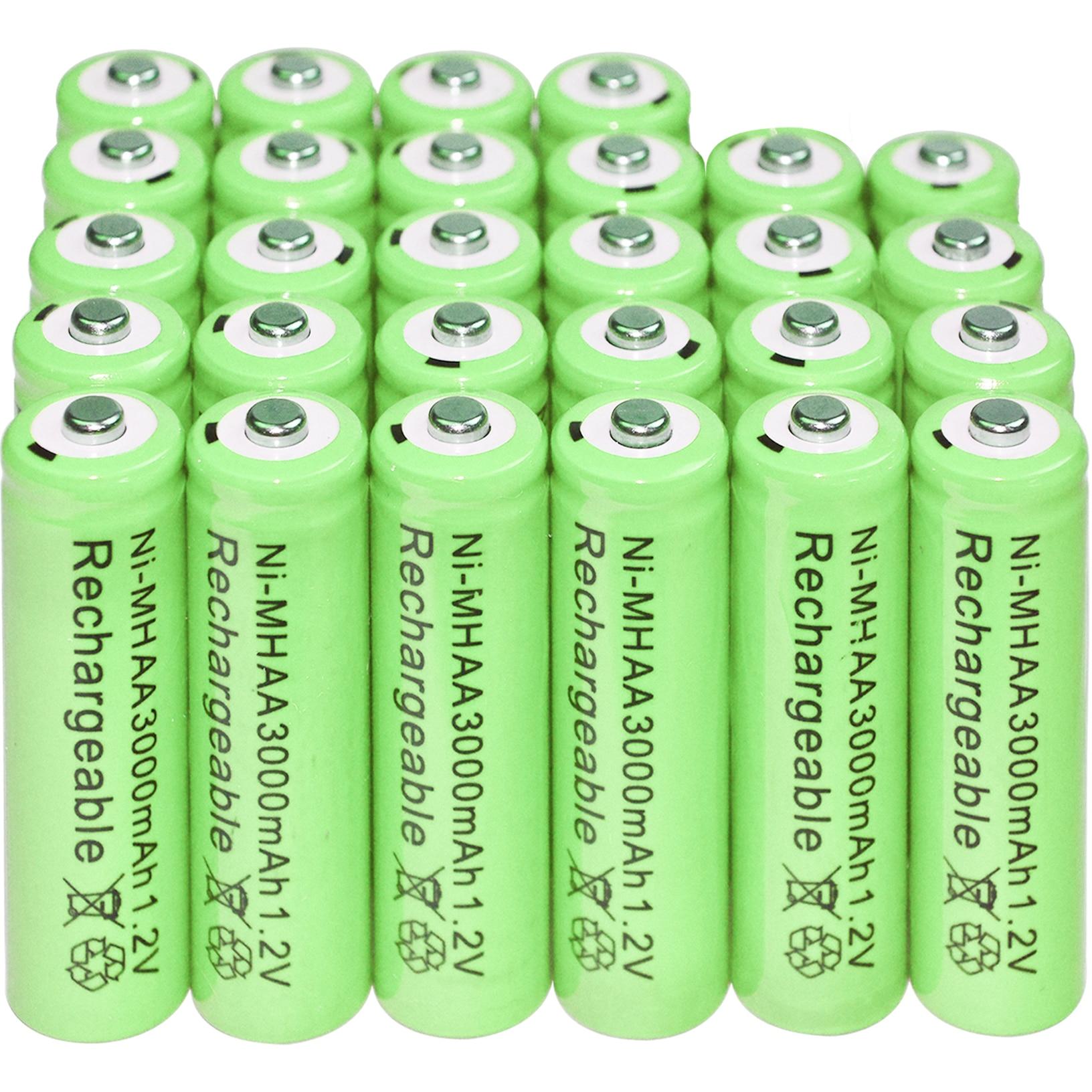 6/12/20/24/32/40pcs AA 1.2V 3000mAh NiMH 1.2v Rechargeable Batteries Green Battery Garden Solar Light LED Flashlight Torch