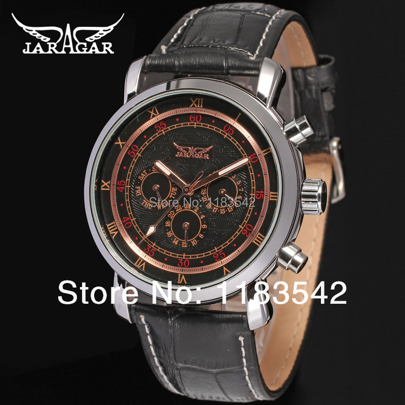 Jargar new Automatic watch silver  color with black leather band for men hot selling free shipping JAG6540M3S3 ultra luxury 2 3 5 modes german motor watch winder white color wooden black pu leater inside automatic watch winder