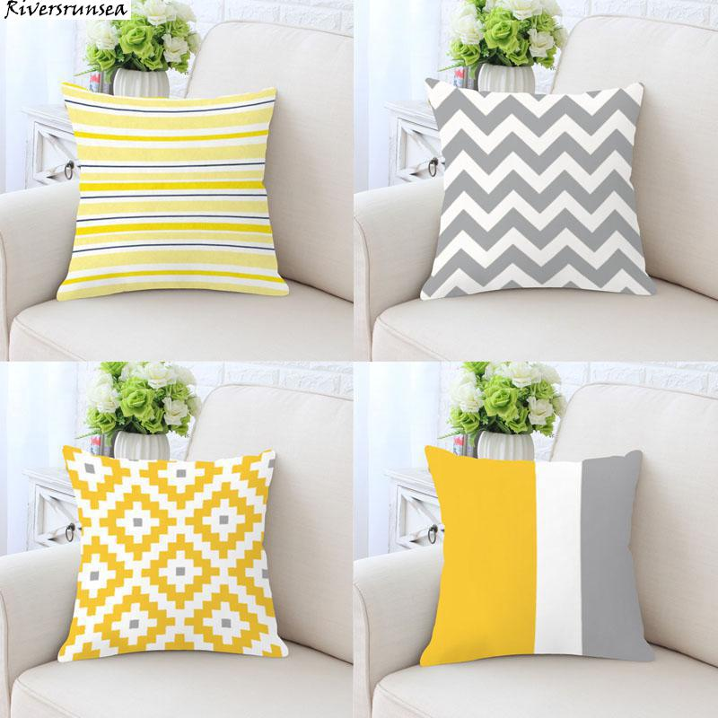 Nordic Style Decoration Yellow Gray Geometric Cushion Simple Color Striped Triangle Wave Geometry Pillow For Modern Home Decor