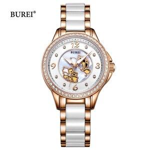 Женские кварцевые часы BUREI, водонепроницаемые, модные, с золотыми бабочками, керамическим ремешком, 2017