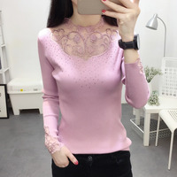 Women O neck Lace Sweater Autumn Winter Fashion Knitted Femme Pull High Elasticity Soft Female Pullovers Sweater