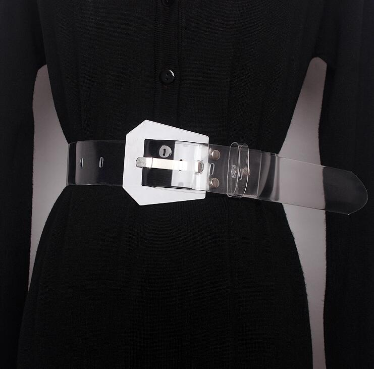 Women's Runway Fashion Transparent PVC Cummerbunds Female Dress Corsets Waistband Belts Decoration Wide Belt R1621