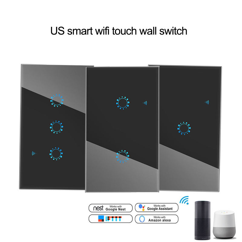 US black Smart Wifi Wall Touch Switch 1 2 3 Gang light Switch remote controller Ewelink APP Support Alexa Google home smart homeUS black Smart Wifi Wall Touch Switch 1 2 3 Gang light Switch remote controller Ewelink APP Support Alexa Google home smart home