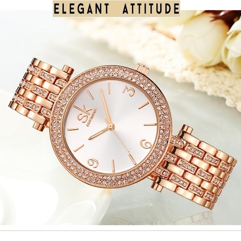 Luxury Brand New Fashion Watches Women Dress Elegant Bracelet Wristwatch  2017 Rose Gold Diamond ladies Quartz Clock Reloj Mujer
