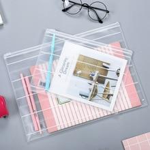 1PCS Pulled Edge Scrub A4 File Bag Transparent Plastic Data Portfolio Storage   Bag Student Test Bag Sealed Bag Office Supplies