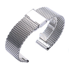 High Quality 20/22mm Silver Stainless Steel Men Watch Band Web Mesh Clock Strap Women Push Botton Hidden Bracelet