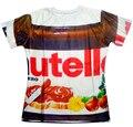 Moda de verano de las mujeres/de los hombres 3d camiseta harajuku parodia divertida realista de alimentos salsa de chocolate Nutella alimentos camiseta El Envío libre