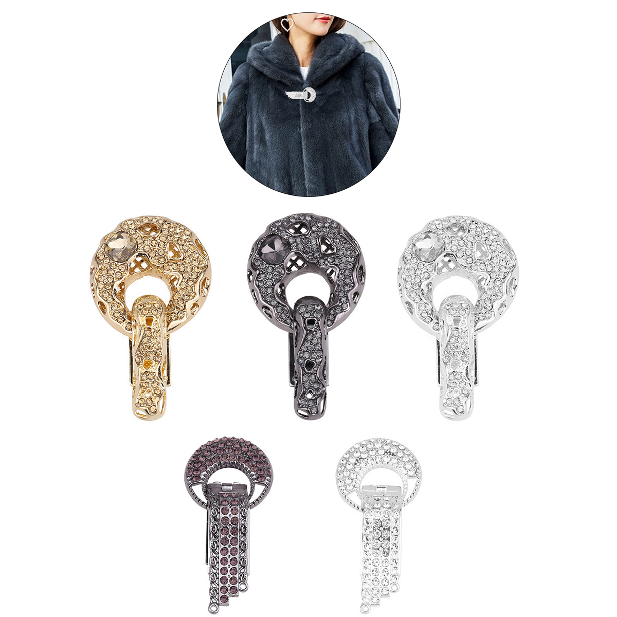 Alloy Rhinestone Duckbill Buckle for Sweater Coats DIY Flower Sewing Buttons