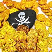 50 pçs piratas moedas de ouro plástico jogo moeda para festa de criança suprimentos tesouro moedas decoração de natal novo 5z-hh262