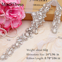 MissRDress Opals Wedding Belt Handmade Crystal Bridal Sash Elegant Silver Rhinestones Bridal Belt For Wedding Dresses JK917