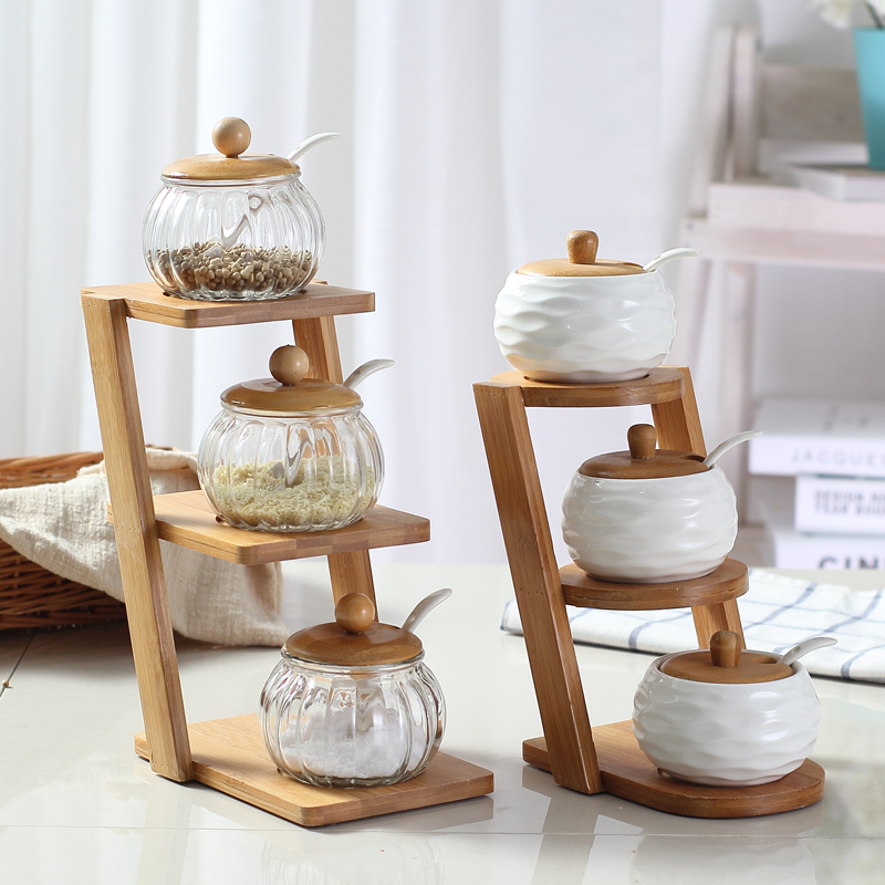 fashion Ceramic Salt Shaker Kitchen Supplies Salt Jar Condiments Containers with Bamboo Cover Tray bamboo jar
