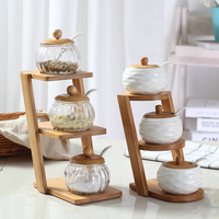 fashion Ceramic Salt Shaker Kitchen Supplies Salt Jar Condiments Containers with Bamboo Cover Tray