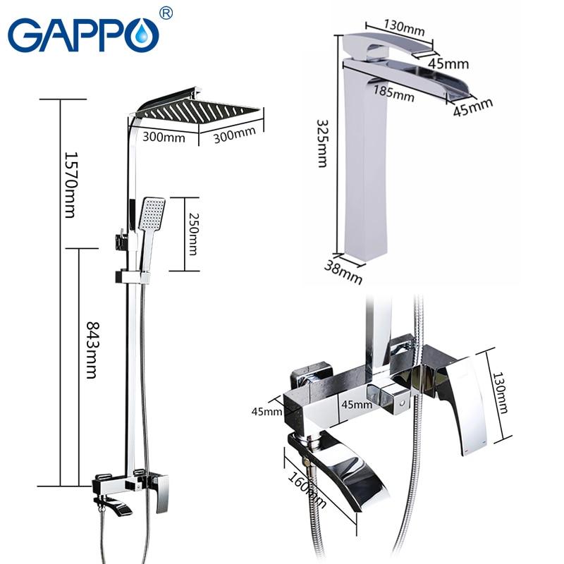 GAPPO Sanitary Ware Suite shower set with basin faucet brass bathroom shower set chrome bath faucet mixers shower system