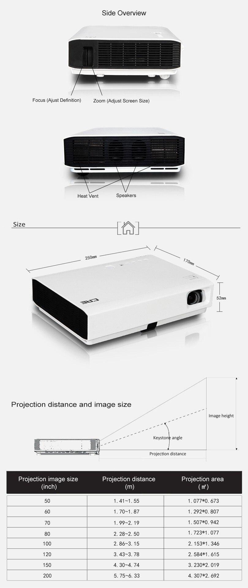 CRE 1280x800 Full HD 3000 люмен DLP 3LED проектор GP90UP 1 ГБ/8 ГБ Android 4,4 Bluetooth wifi домашний проектор Поддержка HDMI USB