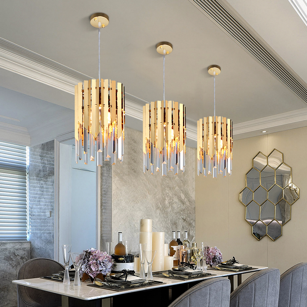 US $67.65 18% OFF|Small round gold crystal led modern chandelier lighting  for kitchen dining room bedroom bedside light luxury k9 pendant lamps-in ...