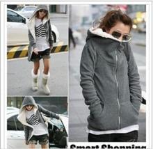 Здесь можно купить  1 piece Fleece Coat 2018 Autumn Winter Women Zipper Design Casual Long Sleeve high neck Hooded Outerwear Plus Size