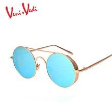 VENI. vidi 2018 nuevo clásico steampunk mujeres personalidad colorido  circular gafas de sol mujer vintage metal marco tendencia 57a0e8191228