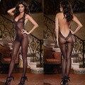 Новое постоянное Высокое качество Сексуальных женщин Черный Sheer Холтер Нижнее Белье ультра-тонкий Жаккардовые весело комбинезоны носки