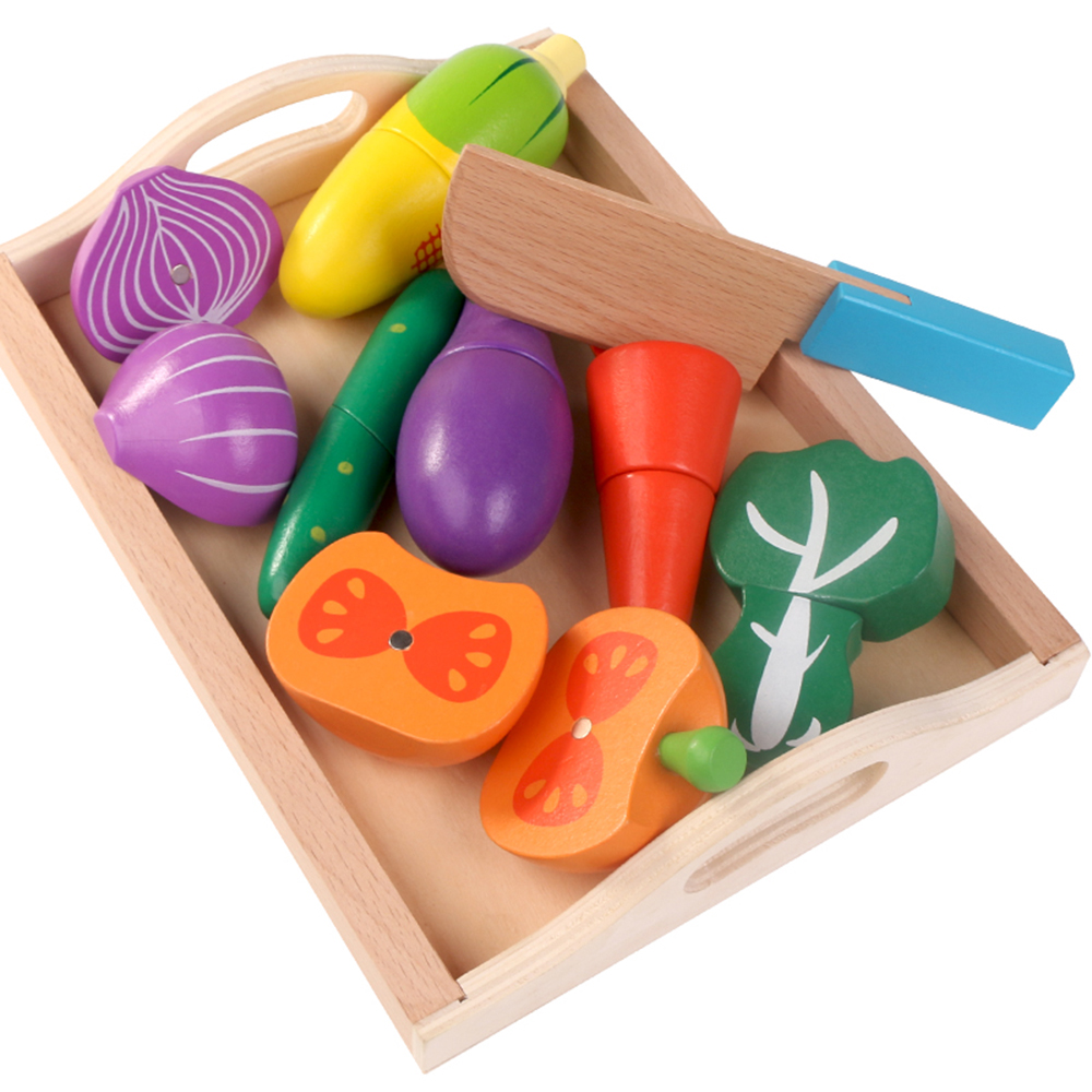 Pretend Play Wooden Kitchen Toys Cutting Fruit Vegetable