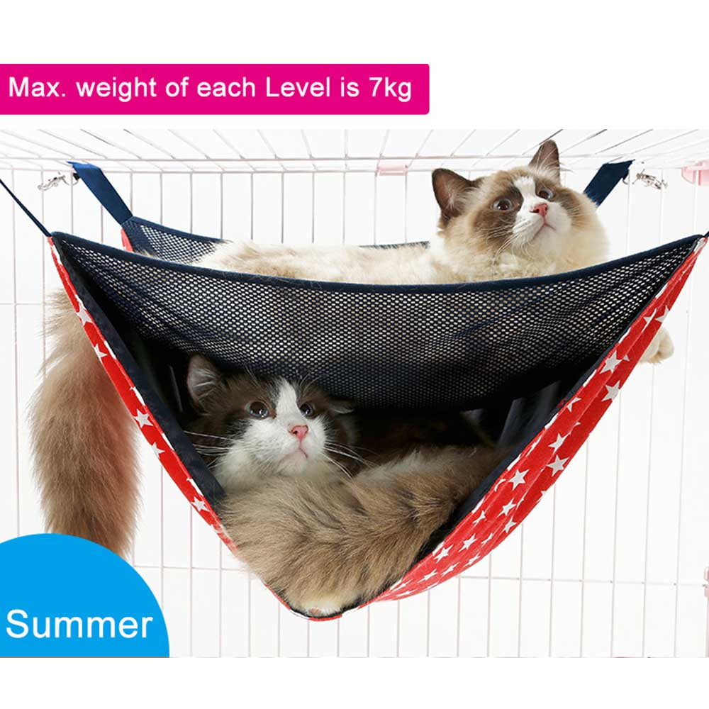 2 Layers Warm Hanging Cat Bed Mat Soft Cat Hammock Winter Hammock Pet Kitten Cage Bed Cover Cushion Home & Garden