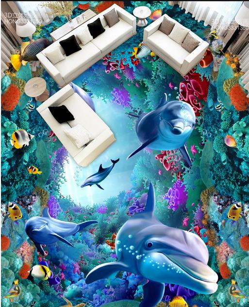 Vinyl Flooring Dolphin Coral Waterproof Kitchen Wallpaper 3d Floor 3d Stereoscopic Wallpaper Painting Bathroom Floors free shipping aesthetic ocean shark dolphin toilet bedroom 3d floor waterproof living room bathroom kitchen flooring mural