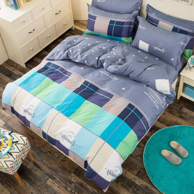 New Home Textile Cartoon Plaid 3/4 pcs Bedding Sets Childrens Beddingset Bed Linen Duvet Cover Bed Sheet Pillowcase/bed Set