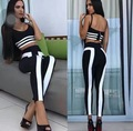 Babatique 201 black white stripe Sexy two 2 piece tops pant Bandage wear 2017 celebrity club Party Bodycon bandage wear vestidos