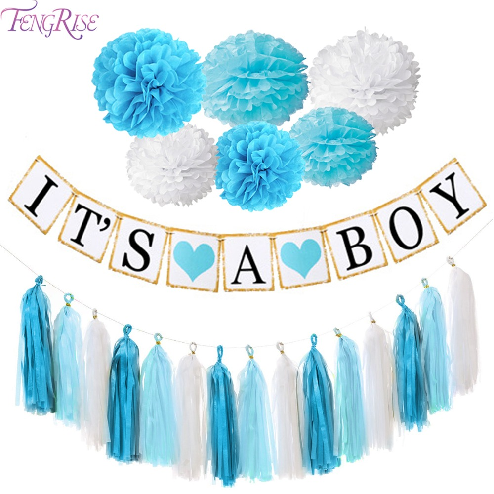 Fengrise baby shower decoration kits blue pink pom poms for Baby shower foam decoration
