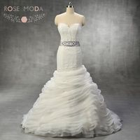 Eyelash Laced Sweetheart Neck Chantilly LaceTrumpet Wedding Dress With Ruffled Skirt Detachable SIlver Crystal Sash Real