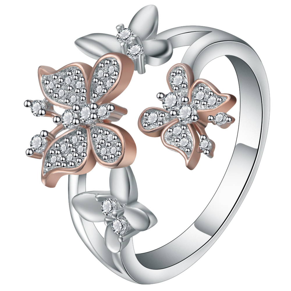 Cute Cubic Zirconia Butterfly Charms Lady Finger Ring Silver Color Women Micro Pave Party Cocktail Anniversary Ring Bijoux Gift