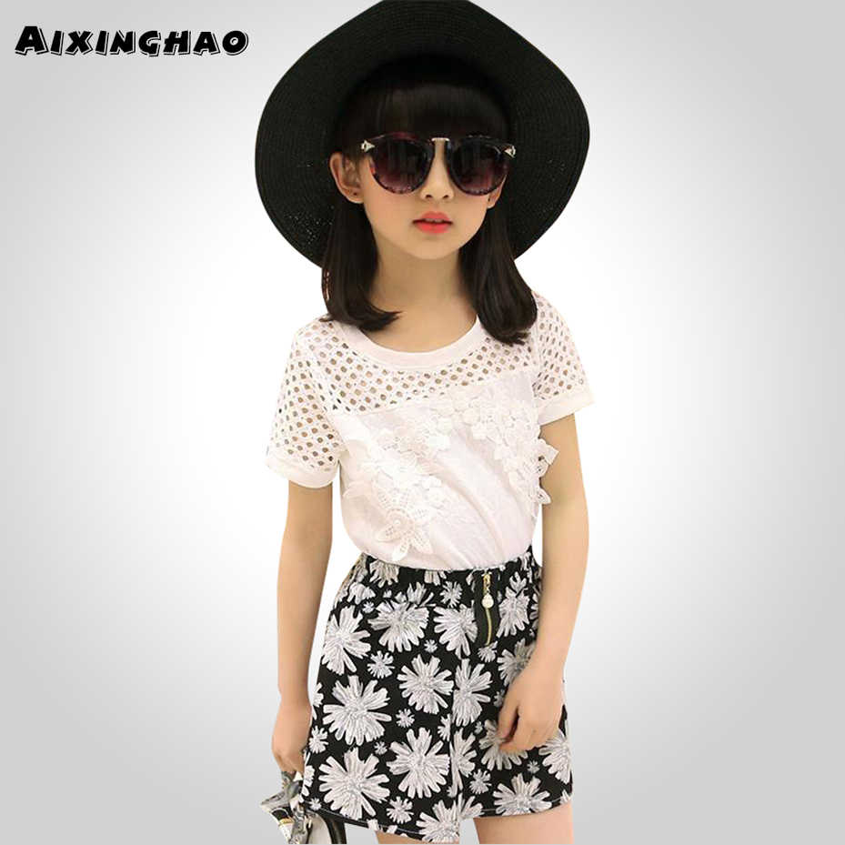 9f7027c2a0 Aixinghao Girls Clothes Lace Shirt + Floral Skirts 2 PCS Girl Summer  Clothes Teenage Children Clothing 6 8 10 12 13 14 Year