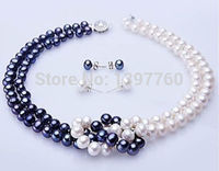 Miss charm Jew.64 White & Blue Freshwater Pearl Necklace & Earring Set