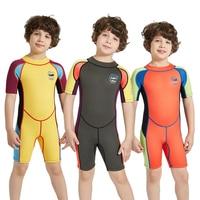 2.5MM Neoprene children's One piece diving suit boy kids Wetsuit short Sleeve Swimwear Keep Warm UV protection Wet Suit surfing