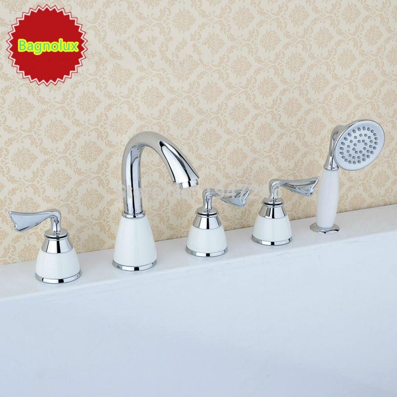Factory Direct High Quality Brand Original Unique Patent Design Brass Chrome 5 Hole Bathtub Faucet Bath
