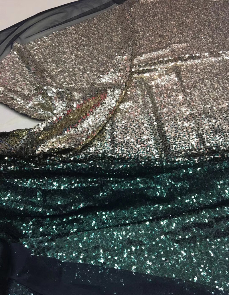 5yards pc high quality gradient gold green African sequins lace French net lace fabric for