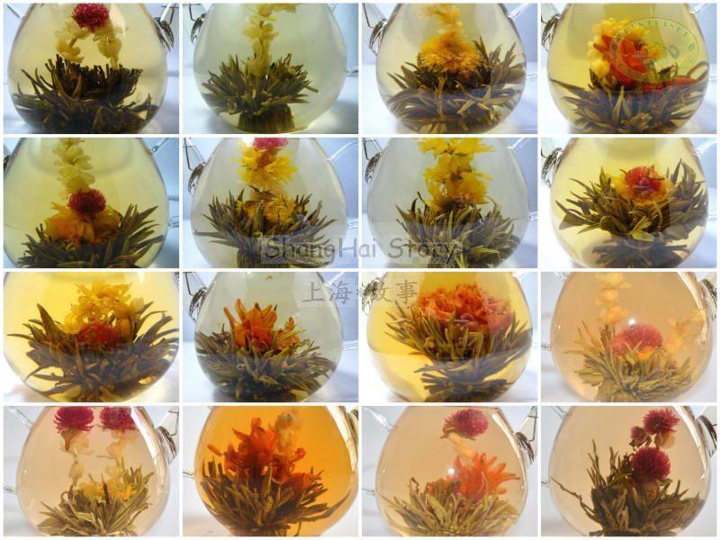 16 organique blooming fleur de thé vert boule individuelle