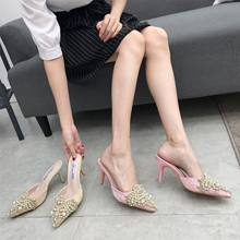 f41d37abfc0d XingDeng Women Pearl Rhinestone Pointed Toe Sexy Party Lace High Heels  Pumps Shoes Summer Ladies Design