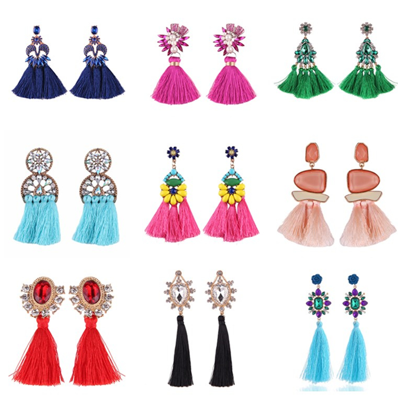 Wholesale 10Pairs Mixed Style Bohemia Statement Tassel Earrings For Women Wedding Long Fringed Dangle Earrings Jewelry Gift