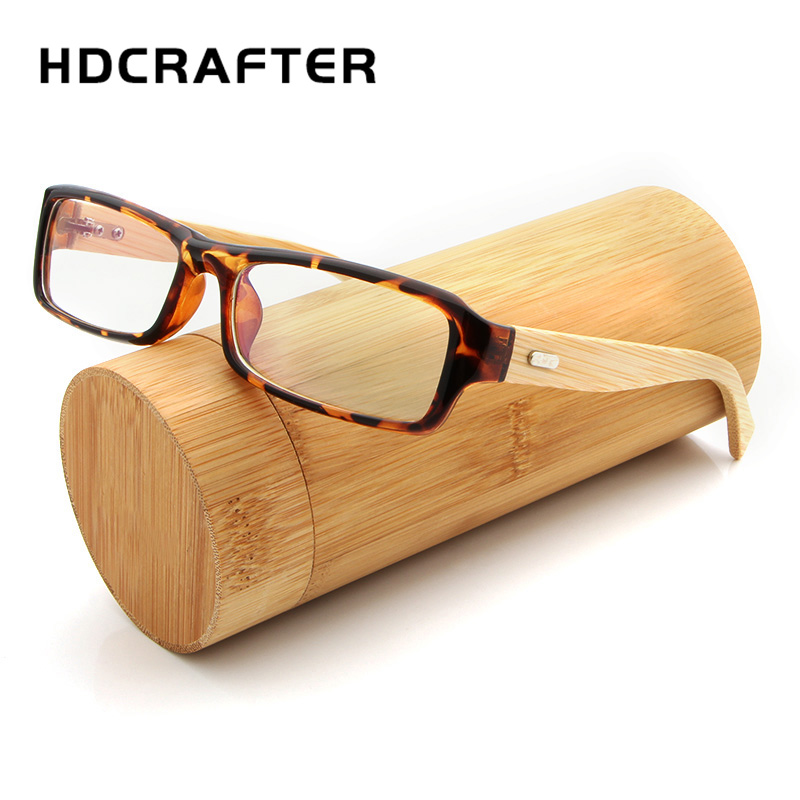 HDCRAFTER Vintage Square Glasses Frame Bamboo Legs Clear Glasses for ...