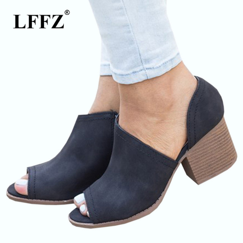 Lzzf Summer Chunky High Heels Ladies Shoes Woman Peep Toe Pumps Sandals Women Shoes Party PU Leather Zapatos Mujer Big Plus Size cdts zapatos mujer peep toe sandals plus 35 45 46 summer 13cm thin high heels wedding pumps platform women party shoes
