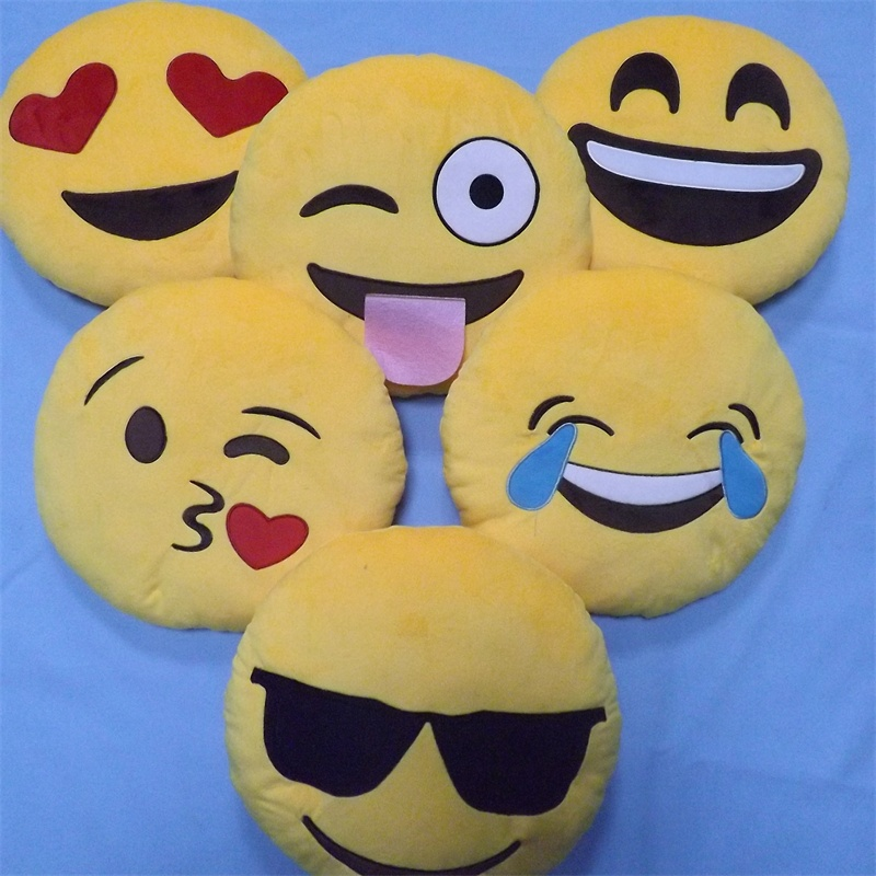 6pcs/Set Kids Emoji Smiley Pillow Children's Plush Toys Round Soft Emoji Pillow Yellow Smile Emoticon Cushion Stuffed Plush Toys fancytrader new style giant plush stuffed kids toys lovely rubber duck 39 100cm yellow rubber duck free shipping ft90122
