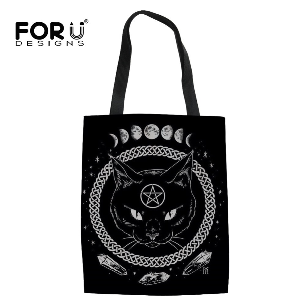 Detail Feedback Questions about FORUDESIGNS Women Linen Shopping Bag Gothic  Moon Phase Witching Black Cat for Female Shopper Tote Bag Recycle Bag Girls  Book ... f164d0aa96541