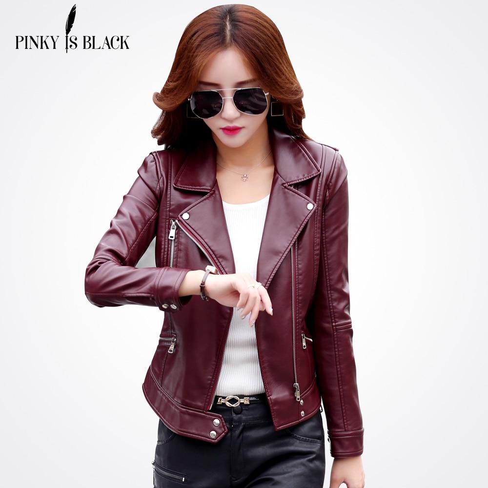 Pinky Siyah Artı Boyutu Olduğunu S-3XL Moda 2017 Sonbahar Kış Kadın Deri Ceket Kadın Ince Kısa Deri Ceket kadın giyim
