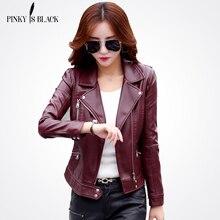 Pinky Là Màu Đen Cộng Với Kích Thước S-3XL Thời Trang 2017 Mùa Thu Mùa Đông Phụ Nữ Da Áo Khoác Nữ Mỏng Ngắn Leather Jacket Nữ của áo khoác ngoài