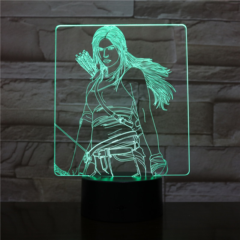 USB 3D LED Night Light Katniss Everdeen Figure Boys Child Kids Baby Gifts decorative lights The Hunger Games Table Lamp Bedside in LED Night Lights from Lights Lighting