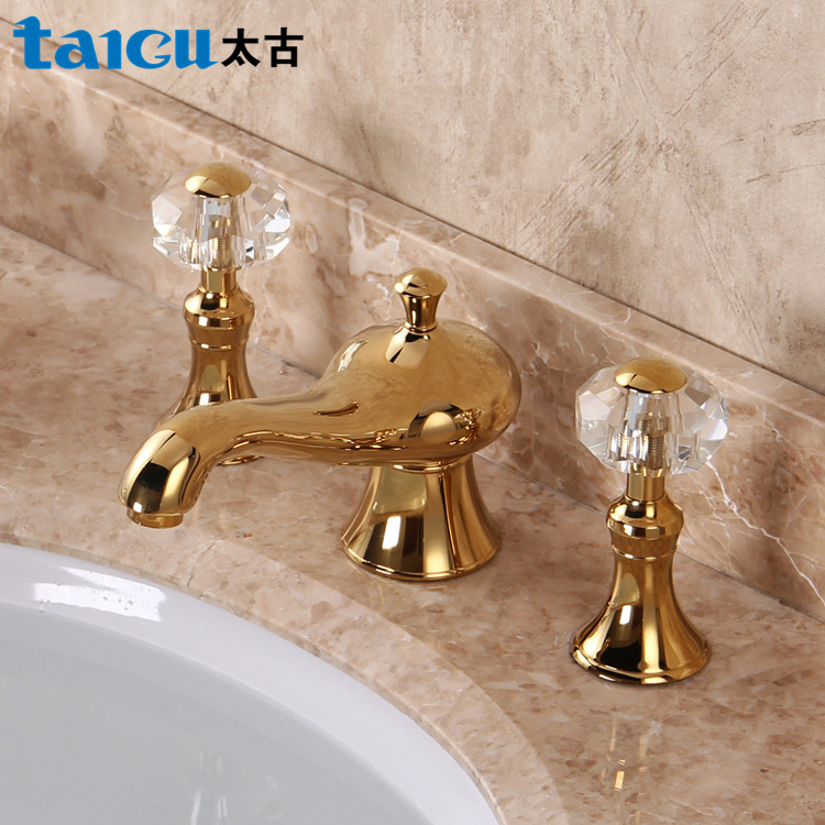 Basin Faucets Gold Brass Crystal Handle 3 Piece Set Faucet ...